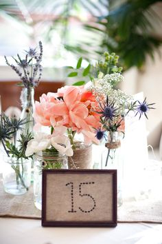 centerpiece with stitched table number.