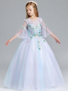 Girls Butterfly Embellishment Mesh Stereo Flowers Party Princess Dress