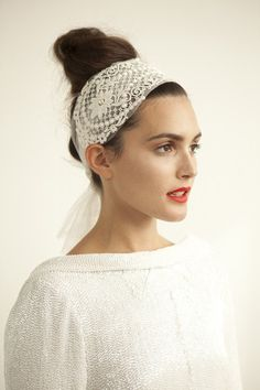 Oh how I love this silk tulle and lace head wrap from Faulkner & Carter