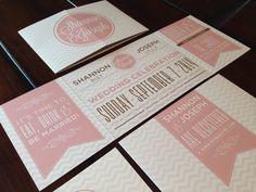 Custom Fold Wedding Invitation Pink & Brown by TheDesignBrewery, $2.25