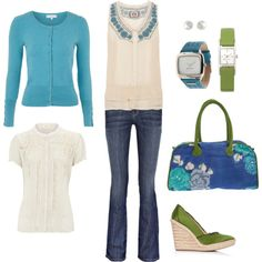 Green and Blue. I really like these colors together and the items.