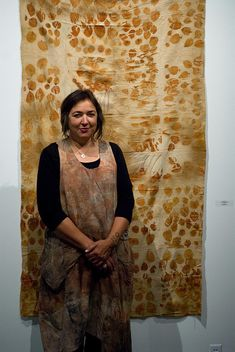India Flint and her work at Nash Gallery Minneapolis MN in conjunction with SDA 2011 Conference. Photo by Derek Lundmark (courtesy of Brittany Conroy). India Flint, Textile Artists, Fashion Fabric, Famous Artists, Textiles, Shibori, Surface Design, Printing On Fabric, Natural Dyeing