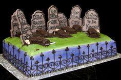Halloween Grave Yard Cake.