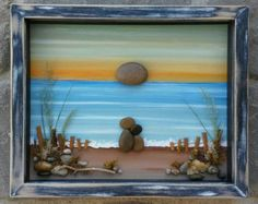 "Pebble Art, Rock Art, Pebble Art Couple, Rock Art Couple, beach, ocean, anniversary, honeymoon, vacation, ""open"" 8x10 frame, (FREE SHIPPING)"