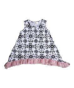 Look what I found on #zulily! Black & White Medallion Sidetail Top - Infant, Toddler & Girls #zulilyfinds