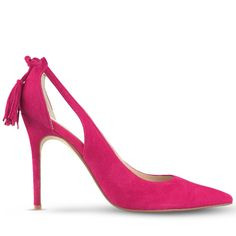 This stunning 10.5cm* stiletto is crafted from spicy fuchsia suede, with an elegant double cut out at the arch of the foot. With a pretty bow and tassel feature at the heel counter, and classic design, these pumps are a perfect part of saying 'I do'! L