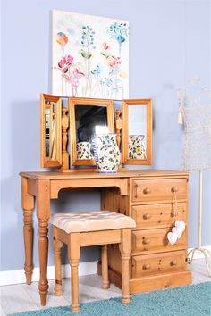 SOLID PINE DRESSING TABLE MIRROR STOOL