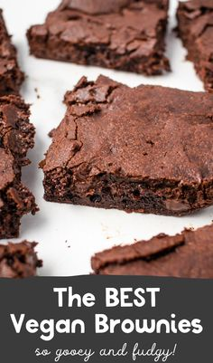 Super fudgy, so easy to make, and mind-blowingly delicious homemade vegan brownies! These will surely cure your chocolate craving. Best Vegan Recipes, Healthy Dessert Recipes, Dairy Free Recipes, Homemade Desserts, Sweet Recipes, Real Food Recipes, Healthy Snacks, Vegetarian Recipes, Gluten Free