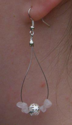 rose quartz gemstone teardrop earrings