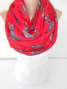 Soft Cotton Scarf Zebra Red Scarf Shawl Oversize by ScarfClub