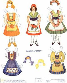 Marie of Italy - Paper Doll Paper Toys, Paper Crafts, Little Dolly, Costumes Around The World, World Thinking Day, Vintage Paper Dolls, Printable Paper, Doll Patterns, Beautiful Dolls