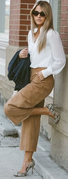White Blouse + Camel Suede Pants                                                                             Source