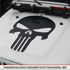 Jeep Wrangler Punisher Skull Hood Decal Vinyl on Etsy, $24.95