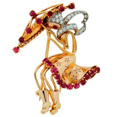 "French Retro Diamond Ruby & Gold ""Girl Under Umbrella"" Brooch 