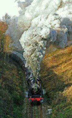Steam locomotive, Churnet Valley Heritage Railway, Staffordshire, England by midcheshireman Train Art, By Train, Train Tracks, Train Rides, Locomotive Diesel, Steam Locomotive, Steam Railway, Bonde, Old Trains