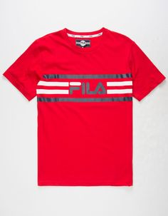 Fila logo detailing screened across chest. Mens Rugby Shirts, Boys T Shirts, Mens Tees, Tee Shirts, T Shirts For Women, Camisa Polo, Adidas Originals Tshirts, Fila Outfit, Kids Suits