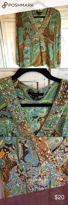 ECI Sparkling Paisley Tunic In excellent condition. Add some sparkle to your day with this beautiful tunic. Looks great with white jeans. Is 100% silk and had side zipper. 25.5 in from shoulder to hem. ECI Tops Tunics