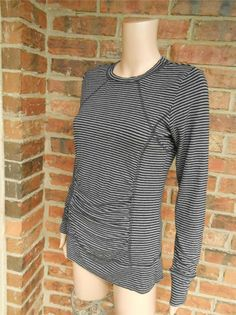 CAbi Tunic Top Size S Women Ruched Striped Shirt Black/Gray #CAbi #KnitTop #Casual