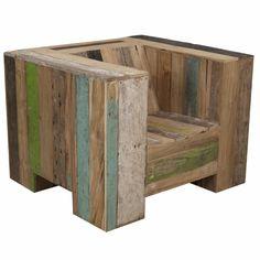 Outside armchair enormous in scrapwood   105x95x76 (39)cm  € 1395,00