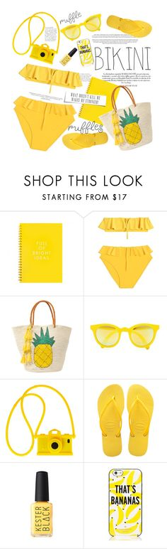 """No 392:Yellow Summer!!!"" by lovepastel ❤ liked on Polyvore featuring Maryam Nassir Zadeh, Sensi Studio, Sunpocket, Moschino, Havaianas, Kate Spade and ruffledswimwear"
