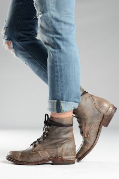 This distressed combat boot from bedstu is hand made and hand finished. The back zipper makes it easy to slip on. The unique distressed finished is perfect for a free people inspired look. Leather Ankle Boots, Combat Boots, Sock Shoes, New Shoes, Black And Brown, Bootie Boots, Free People, Tights, Lace Up