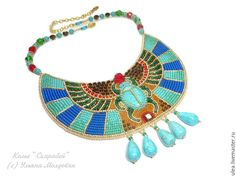 """Buy Egyptian collar necklace """"Scarab"""" on Livemaster online shop High Jewelry, Luxury Jewelry, Modern Jewelry, Unique Jewelry, Swarovski Jewelry, Silver Jewelry, Ancient Egyptian Jewelry, Cartier Jewelry, Jewellery"""