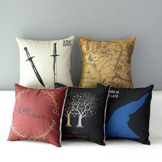 Lord of the Ring Pillow Cotton Linen Cushion Cover Ikea Sofa Decorative Throw Pillow Home Chair Car Pillow Case almofadas Sofa Throw, Throw Pillow Cases, Pillow Covers, Tolkien, Linen Pillows, Decorative Throw Pillows, O Hobbit, Hobbit Hole, Ring Home