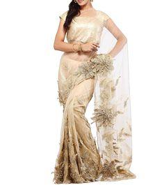 Golden Embroidered Silk & Net Saree