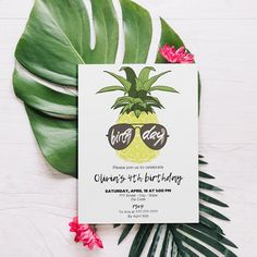 Pineapple birthday invitation for a tropical birthday party 4th Birthday, Birthday Parties, Birthday Invitations, Pineapple, My Design, My Etsy Shop, Tropical, Party, Kids