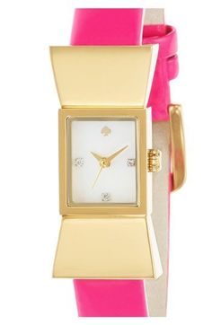 Kate Spade New York - Carlyle Goldtone Bow Patent Leather Strap Watch New York Square, Kate Spade Watch, Stylish Watches, Kate Spade Pink, Watch Bands, Pink And Gold, Patent Leather, Bracelet Watch, Hot Pink