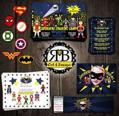 Superhero Training Camp birthday party package designed by RMB Art & Design https://www.facebook.com/RMBArtAndDesign/  #superherobirthday #birthdayInvitation #birthdayPackage #birthdayParty #invitation #banner #waterbottlelabel #birthdaysign #cupcaketoppers #hero #batman #robin #theFlash #wonderwoman #greenlantern #heroparty #superHeroBirthdayParty