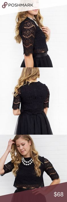 "Delicate Lace Long Sleeve Top - Black Size Small: length - 16"", bust - 32"" Size Medium: length - 16.5"", bust - 34"" Size Large: length - 17"", bust - 36""  Material: 100% Polyester  Product care: Machine wash cold Tops Blouses"