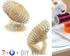 Cleopatra Shield Ring Crochet pattern Statement Ring от Yoola
