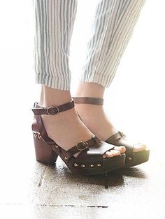 Reese Clog | Studded leather sandal clogs featuring Spanish craftsmanship and comfortable padded insoles.  *By Free People