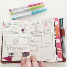 My current weekly set up in a pocket size tn. And even as I look at it now I can see some tweaks I will make for next week (which you'll see next week). For years I have tried to make my life fit into a pre-printed planner and really I'm a bullet journal girl through and through. I love the flexibility to change my layouts whenever I want. I've also discovered I need a weekly and daily spread. I'll share my daily layout at the end of this week.