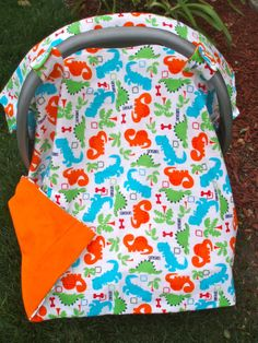 Baby Car Seat Cover Boy   Dinosaurs by JaclynsDesigns on Etsy, $26.00