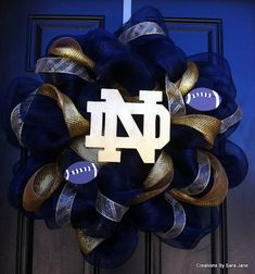 Notre Dame Deco Mesh Wreath - Notre Dame Wreath - Collegiate Wreath on Etsy, $70.00