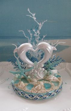 Dolphin Beach Wedding Cake Topper~~ by CeShoreTreasures Beach Cake Topper, Beach Wedding Cake Toppers, Rustic Cake Toppers, Wedding Cupcakes, Wedding Cookies, Cake Wedding, Wedding Favors, Wedding Ideas, Starfish Wedding Cake