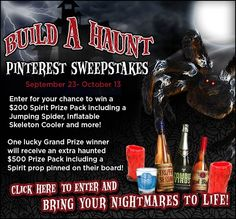 Create a Build A Haunt Pinterest board for your chance to win a Spirit Halloween Prize Pack! Start building your board now through October 13!