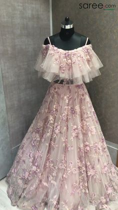 Baby Pink Net Designer Anarkali Off Shoulder Ruffle Gown with Floral Embroidery Baby Pink Net Design Gown Party Wear, Party Wear Indian Dresses, Indian Wedding Gowns, Designer Party Wear Dresses, Indian Fashion Dresses, Indian Bridal Outfits, Indian Gowns Dresses, Party Wear Lehenga, Dress Indian Style