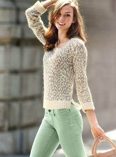 mint pants and light leopard print sweater: for work