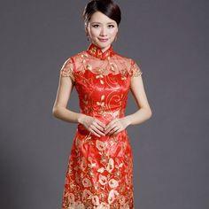 Embroidery Cheongsam Wedding Dresses China Red