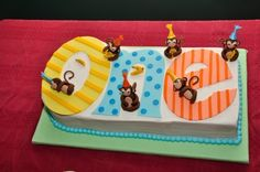 Birthday number cake with monkeys  Could steal this design for a poster/ banner behind the cake/gift table