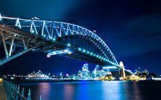 Download wallpapers Sydney, Harbour Bridge, illuminations, night, Australia