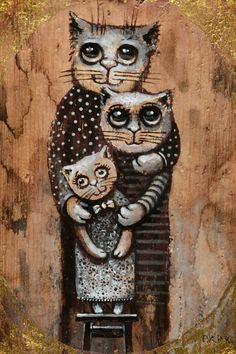 Paul Kulsha | Family 4 Crazy Cat Lady, Crazy Cats, Cute Drawings, Animal Drawings, Cat Vs Dog, Illustration Art, Illustrations, Cool Cats, Cat Art