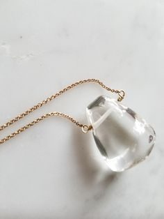 Crystal Quartz Pendant Necklace | Gold Necklace | Mother's Day Gift | Free shipping