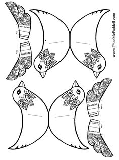 Two Birds And Wings to attach Black and White to color Christmas coloring and craft pages Paper Birds, Fabric Birds, Felt Birds, Paper Puppets, Paper Toys, Bird Patterns, Craft Patterns, Bird Puppet, Bird Template