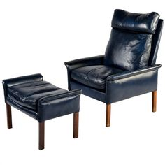 1stdibs | Model 107 leather armchair with ottoman by Hans Olsen for CS Møbler