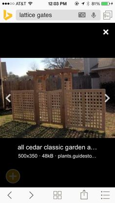 Lattice fence and arbor gate. Perfect for backyard!