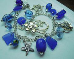 Blue Beach Glass Charm Bracelet Jewelry Sea by BeachGlassMemories, $35.50